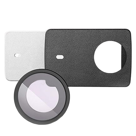 Yi 4K Action Camera 2 Leather Cover Skin White + UV Protective Lens Cover